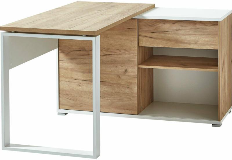 """Schreibtisch """"Lionel"""", mit integriertem Sideboard, 120x75x117 cm, weiß/Navarra-Eiche-Nachbildung"""