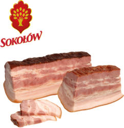 Schweinebauch gepoekelt, gegart und geraeuchert.