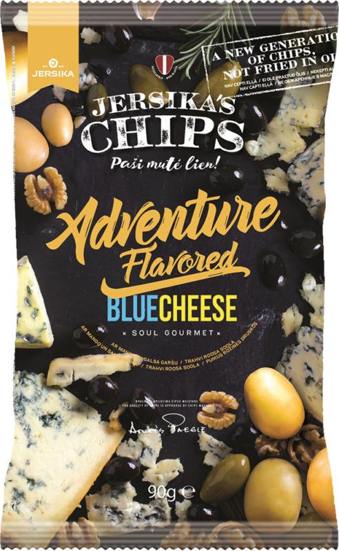 Kartoffelsnack mit Blauschimmelkaesegeschmack