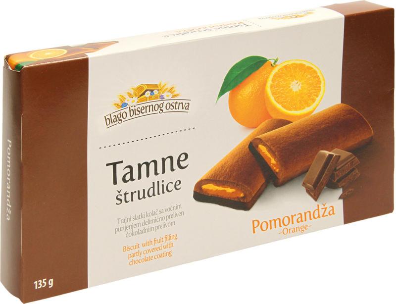 Kakaohaltiger Kuchen mit Schokoladenglasur und einer Fruchtfuellung mit Orangengeschmack