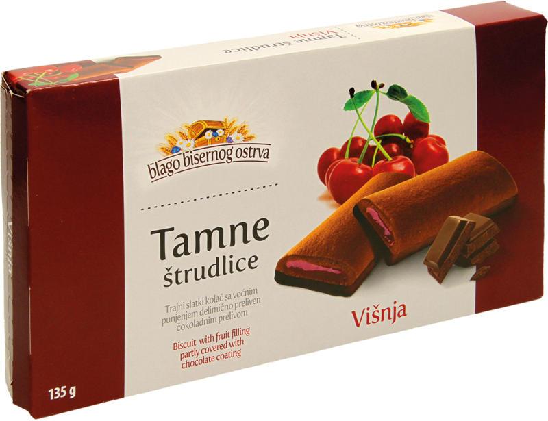 Kakaohaltiger Kuchen mit Schokoladenglasur und einer Fruchtfuellung mit Sauerkirschgeschmack