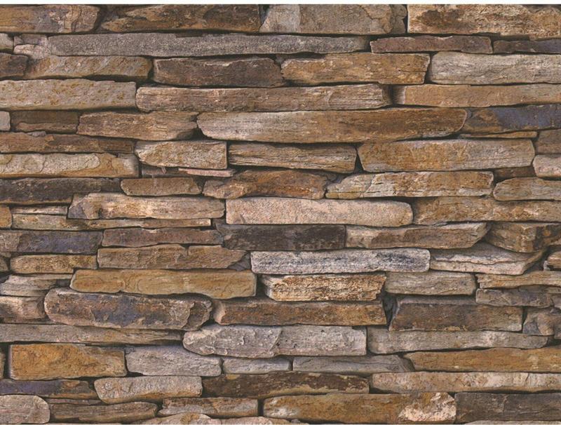 Finest Selection Vliestapete Steinmaueroptik Woodn Stone Bunt