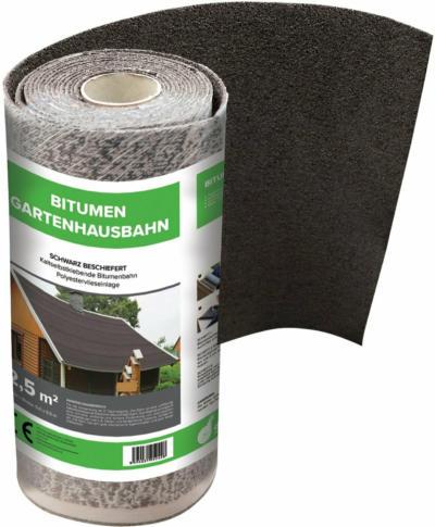 Bitumen-Gartenhausbahn kalt-selbtsklebend Schwarz 2,5 m²