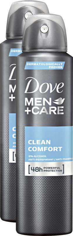 Dove Deo Aerosol Men Clean Comcort, 2 x 150 ml