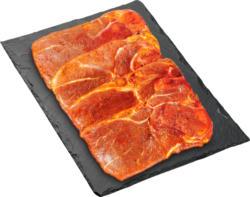 Denner BBQ Holzfällersteak, Schweinsschulter, gewürzt, Schweiz, 4 Stück, ca. 1000 g, per 100 g