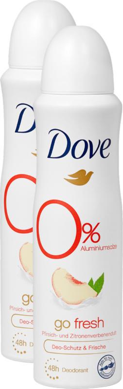 Dove Deo-Spray Go Fresh Woman  , Pfirsich- und Zitronenverbenenduft, 2 x 150 ml