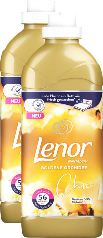Ammorbidente Lenor Goldene Orchidee, 2 x 56 cicli di lavaggio, 2 x 1,4 litri
