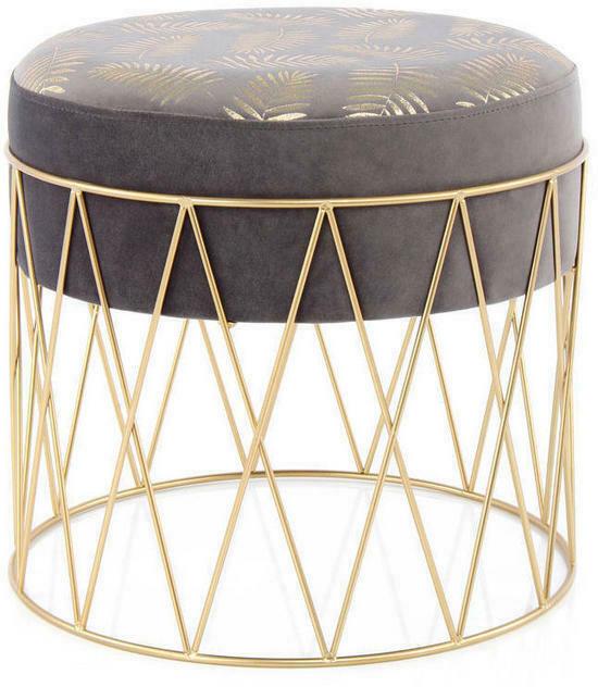 Hocker in Metall, Kunststoff, Textil Grau, Goldfarben