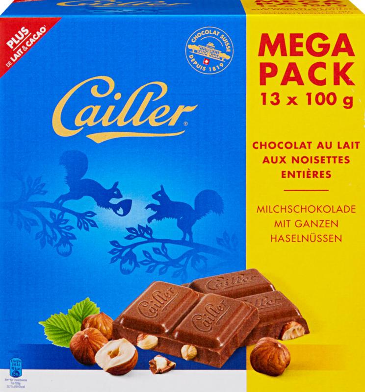 Cailler Tafelschokolade, Milch, ganze Haselnüsse, 13 x 100 g