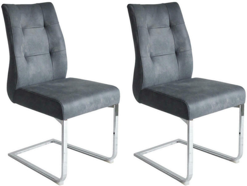 Stuhl-Set in Metall, Textil Anthrazit, Chromfarben