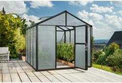 """Gewächshaus """"Zeus 8100 ESG"""", 8,1m², 16mm, Hohlkammerplatte, schwarz Silber   8,1 m²   Hohlkammerplatte   16 mm"""