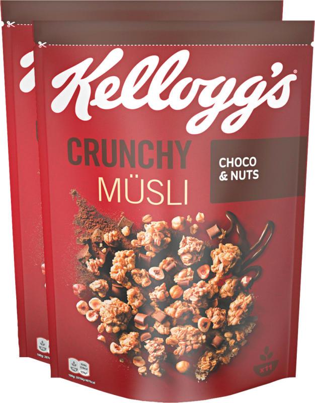 Kellogg's Crunchy Müsli, Choco & Nuts, 2 x 500 g