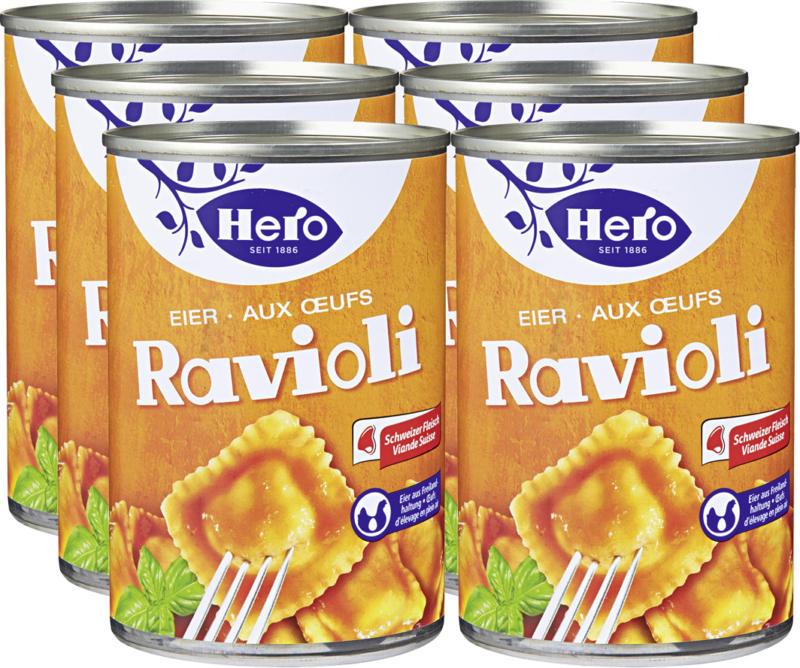Hero Eier-Ravioli, mit Schweizer Fleisch und Freilandeiern, 6 x 430 g