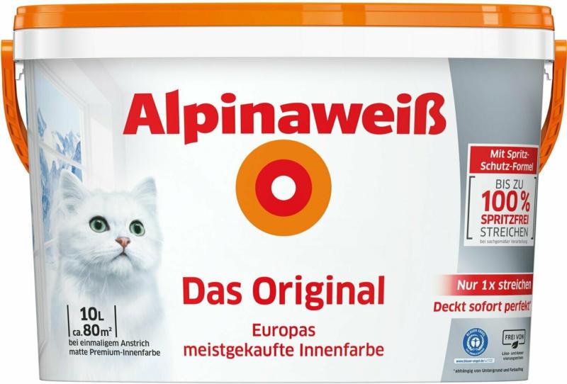 Alpinaweiß Wandfarbe Das Original spritzfrei matt 10 l