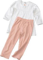PUSBLU Kinder Schlafanzug, Gr. 104, in Bio-Baumwolle, rosa, weiß