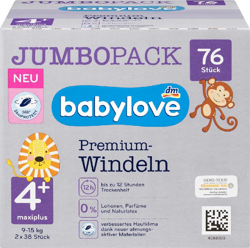 babylove Windeln Premium Gr. 4+, Maxiplus, 9-15 kg, Jumbo Pack
