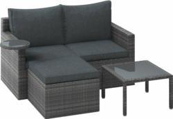 Lounge-Set 3-teilig aus Polyrattan - Geflecht Hellgrau