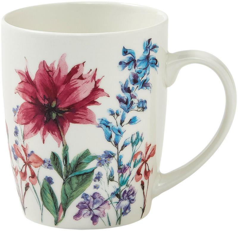 Tasse mit buntem Blumen-Motiv