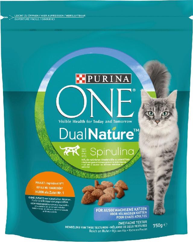 PURINA ONE Trockenfutter für Katzen, dual nature mit Spirulina & Huhn, adult