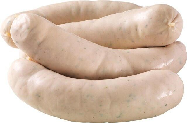 An der Bedienungstheke erhältlich: Münchener Weißwurst