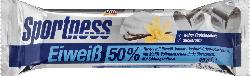Sportness Eiweiß-Riegel 50%, Vanille-Joghurt-Crisp-Geschmack, mit Vollmilch-Schokolade überzogen
