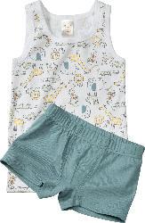 PUSBLU Kinder Unterwäsche Garnitur, Gr. 98, in Bio-Baumwolle, weiß, blau