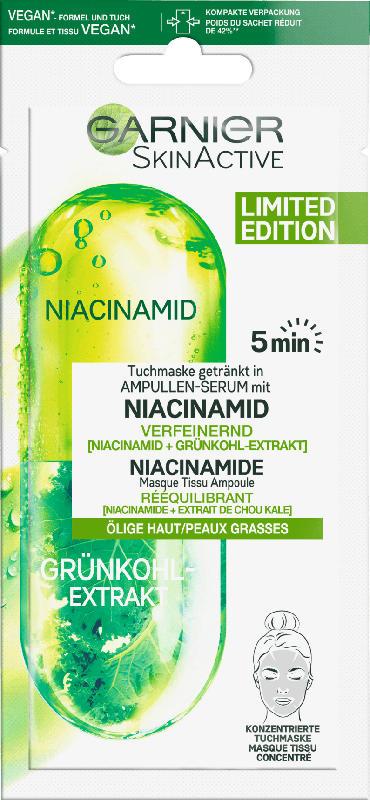 Garnier Skin Active Tuchmaske Ampullen-Serum Grünkohl + Niacinamid