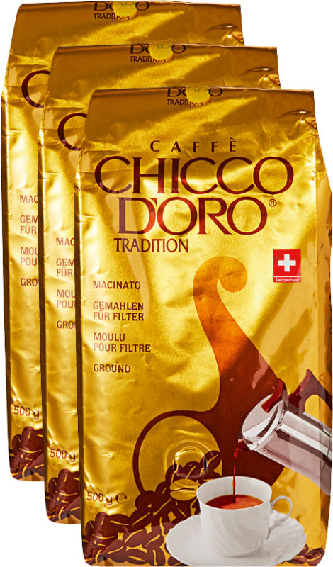 Chicco d'Oro Kaffee Tradition, gemahlen, 3 x 500 g