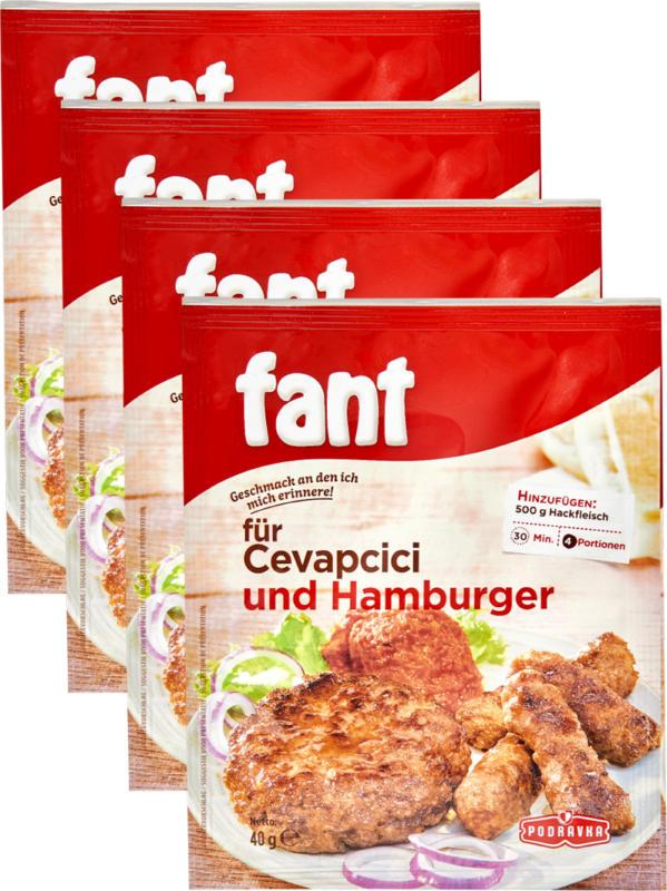 Cevapcici et hamburger Podravka Fant, 4 x 40 g
