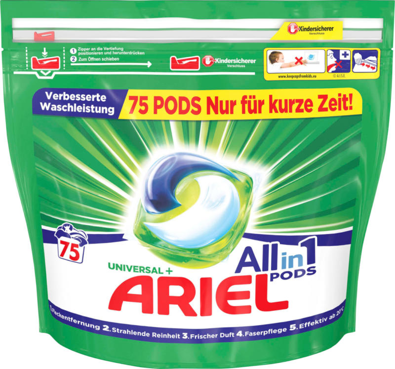 Ariel All in 1  Pods Universal,  Universal, 75 cicli di lavaggio