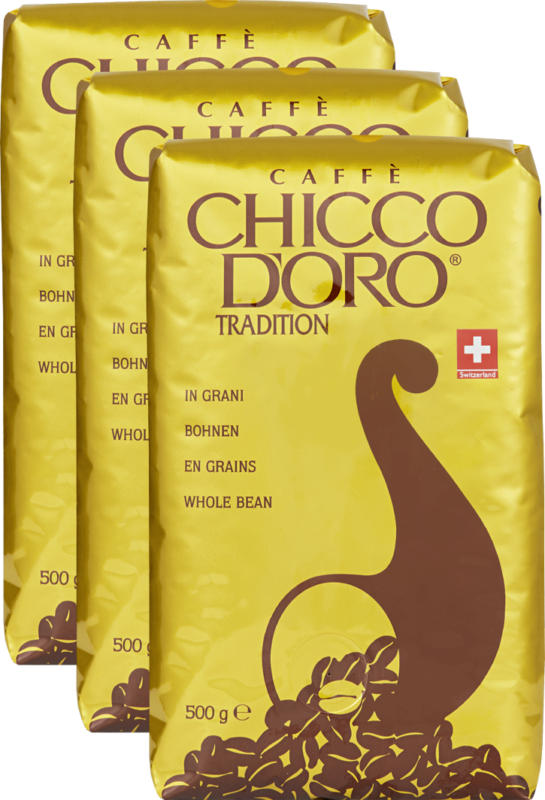 Café Tradition Chicco d'Oro, en grains, 3 x 500 g