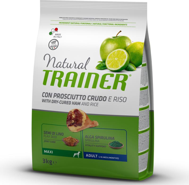 Trainer Nourriture pour chien Natural Maxi Adult Prosciutto & Riz 3kg