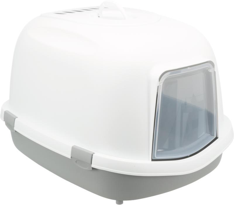 Toilettes pour chats Primo XXL avec bord gris/blanc