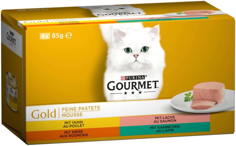 Gourmet Gold Mousse De Poulet, saumon, rognons & lapin 4x85g