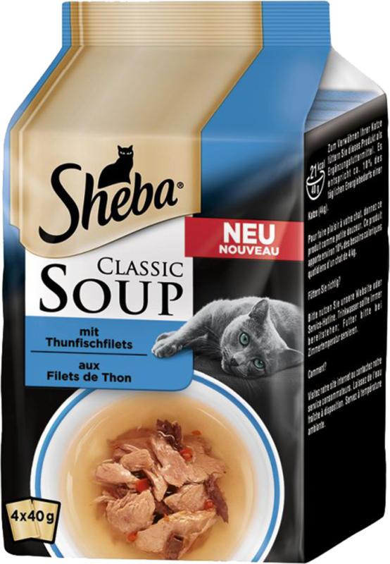 Sheba Classic Soup Snack pour chats avec filet de thon 12x4x40g
