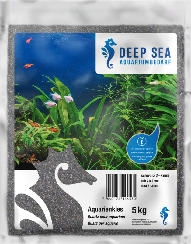 Deep Sea Quartz pour aquarium, noir, 2-3mm, 5kg