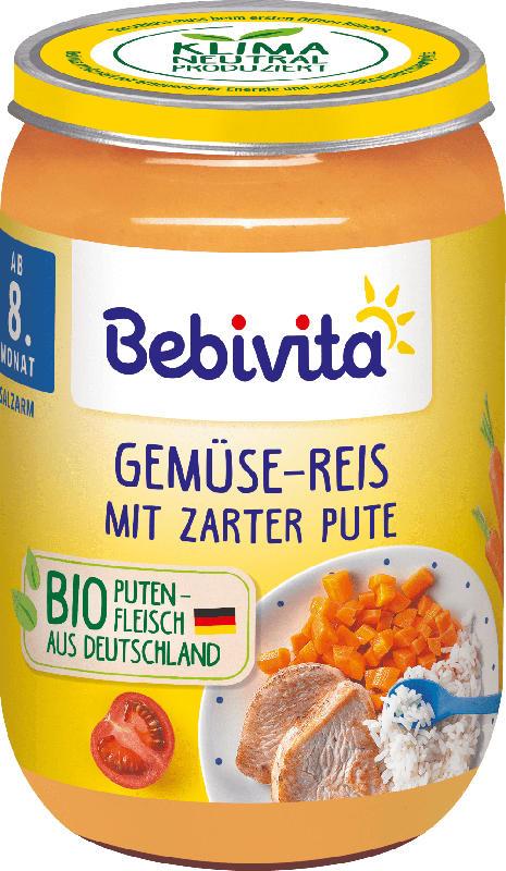 Bebivita Menü Gemüse-Reis mit zarter Pute, ab dem 8.Monat