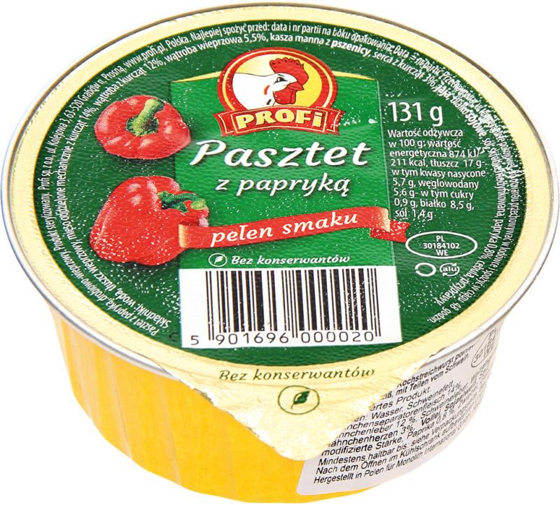 Geflügelhaltiger Brotaufstrich mit Hähnchenseparatorenfleisch nach Art einer Kochstreichwurst polnischer Art mit Paprika. Mit Sojaeiweiß, mit Teilen vom Schwein.