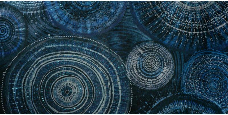 Bild Abstrakte Ringe, Blau