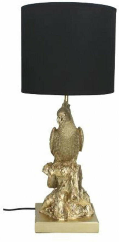 Lampe Papagei, Schwarz-Gold H: 55cm
