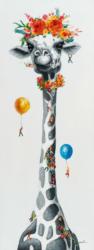 Bild Lustige Giraffe mit Luftballons