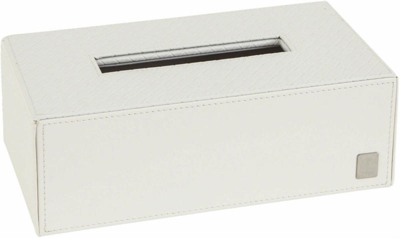 Papiertuchbox Lederoptik Weiss Rechteckig