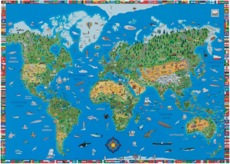 Schreibunterlage Weltkarte