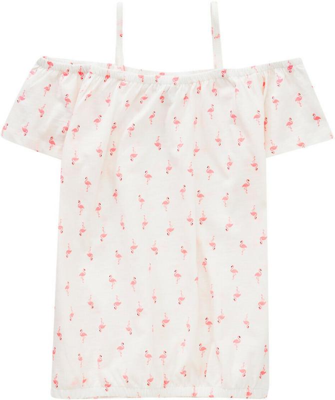 Mädchen T-Shirt mit Flamingo-Allover (Nur online)