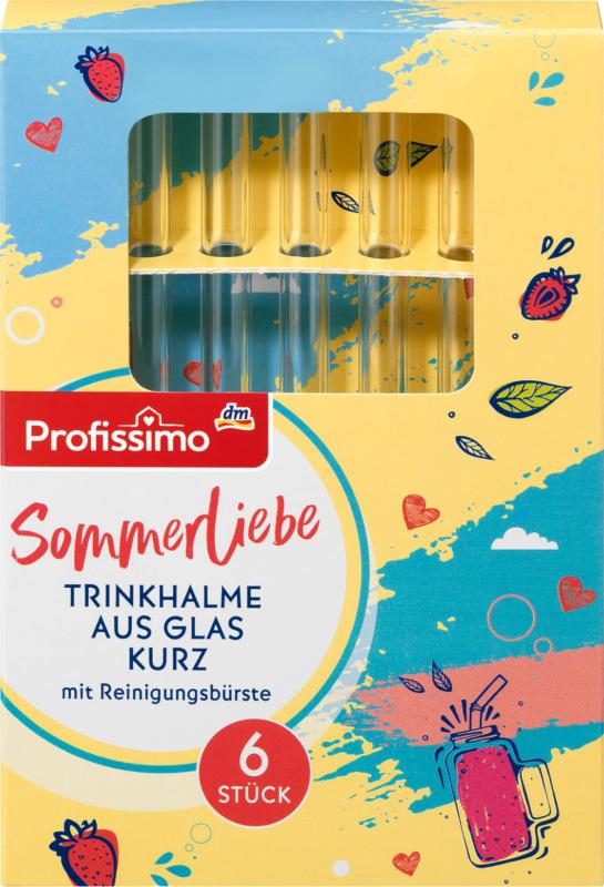 Profissimo Trinkhalme aus Glas mit Reinigungsbürste kurz