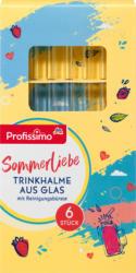 Profissimo Trinkhalme aus Glas mit Reinigungsbürste lang