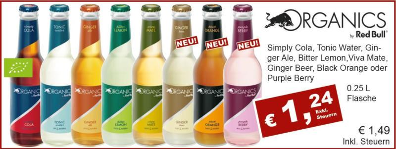 Organics by Red Bull (Simply Cola, Tonic Water, Ginger Ale, Bitter Lemon, Viva Mate, Ginger Beer, Black Orange, Purple Berry