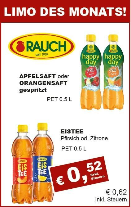 Rauch diverse Sorten - Apfel-, oder Orange Gespritzt & Eistee Pfirsich od. Zitrone