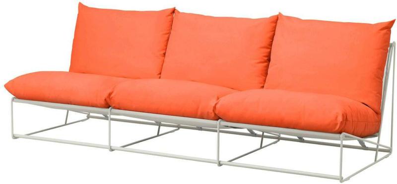 IKEA HAVSTEN 3er-Sofa, drinnen/draußen - ohne Armlehnen orange/beige