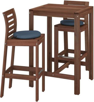 IKEA ÄPPLARÖ Bartisch + 2 Barstühle/außen - braun lasiert/Frösön/Duvholmen blau